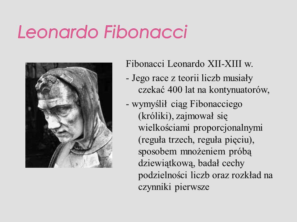 Fibonacci Leonardo XII-XIII w. - Jego race z teorii liczb musiały czekać 400 lat na kontynuatorów, - wymyślił ciąg Fibonacciego (króliki), zajmował si
