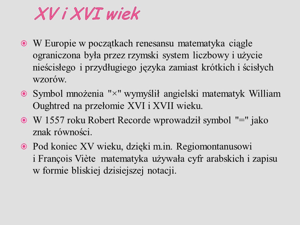 W Europie w początkach renesansu matematyka ciągle ograniczona była przez rzymski system liczbowy i użycie nieścisłego i przydługiego języka zamiast k