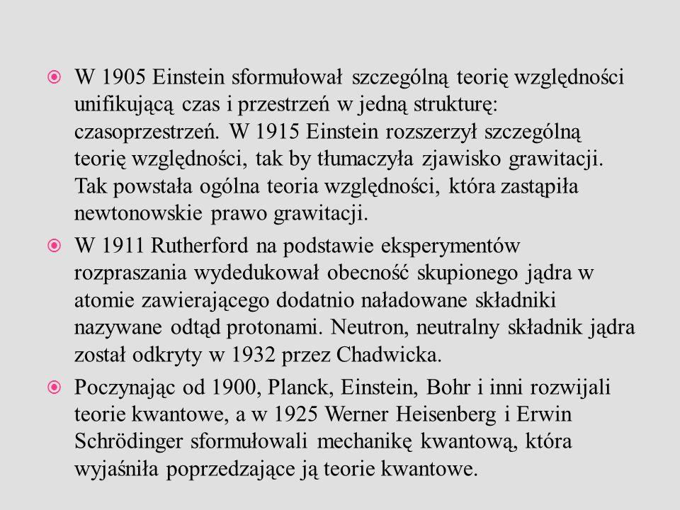 W 1905 Einstein sformułował szczególną teorię względności unifikującą czas i przestrzeń w jedną strukturę: czasoprzestrzeń. W 1915 Einstein rozszerzył