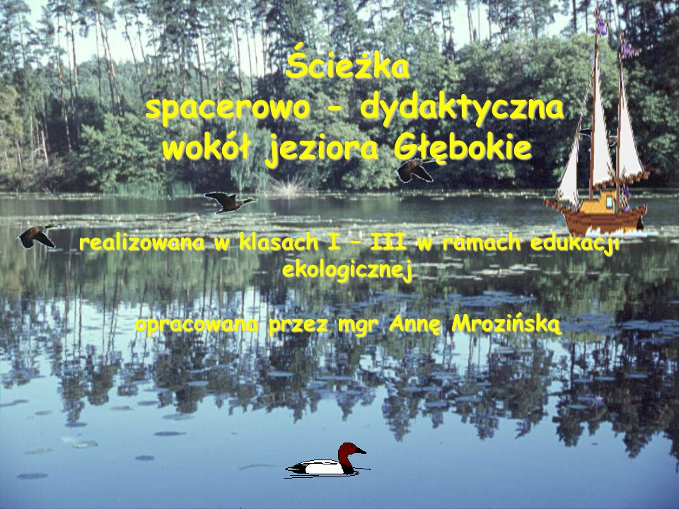 Ścieżka spacerowo - dydaktyczna wokół jeziora Głębokie spacerowo - dydaktyczna wokół jeziora Głębokie realizowana w klasach I – III w ramach edukacji