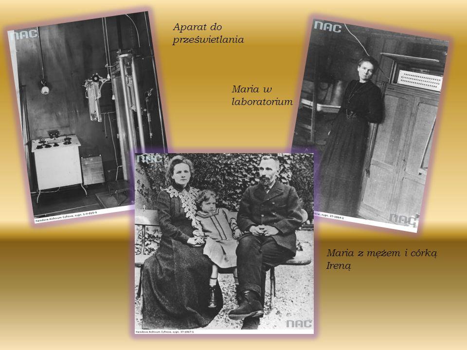 MAr Aparat do prześwietlania Maria w laboratorium Maria z mężem i córką Ireną