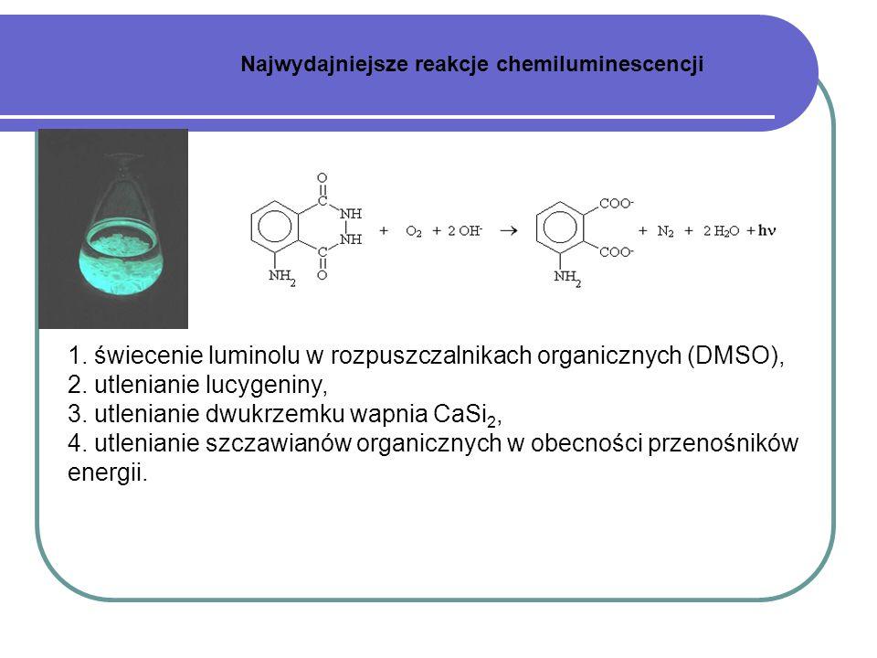 1. świecenie luminolu w rozpuszczalnikach organicznych (DMSO), 2. utlenianie lucygeniny, 3. utlenianie dwukrzemku wapnia CaSi 2, 4. utlenianie szczawi