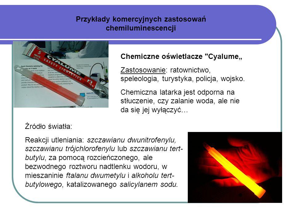 Źródło światła: Reakcji utleniania: szczawianu dwunitrofenylu, szczawianu trójchlorofenylu lub szczawianu tert- butylu, za pomocą rozcieńczonego, ale