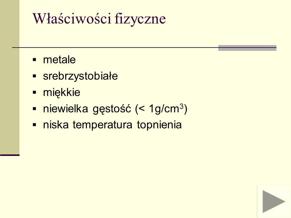 Właściwości fizyczne metale srebrzystobiałe miękkie niewielka gęstość (< 1g/cm 3 ) niska temperatura topnienia