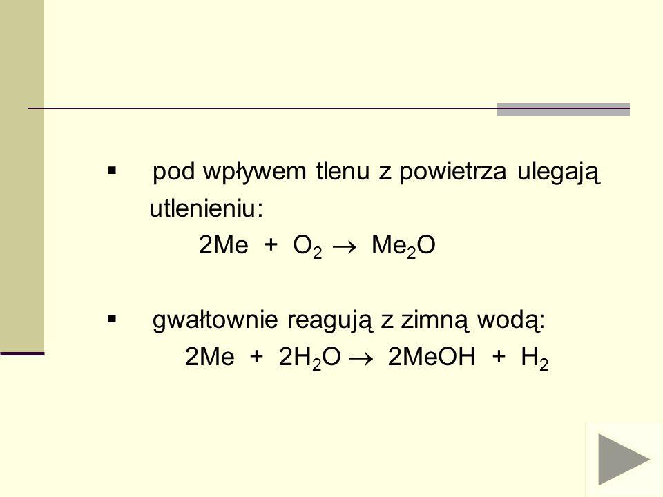 reagują z kwasami z wydzieleniem wodoru: 2Me + 2HR 2MeR + H 2 reagują z wodorem tworząc wodorki o charakterze zasadowym: 2Me + H 2 2 MeH