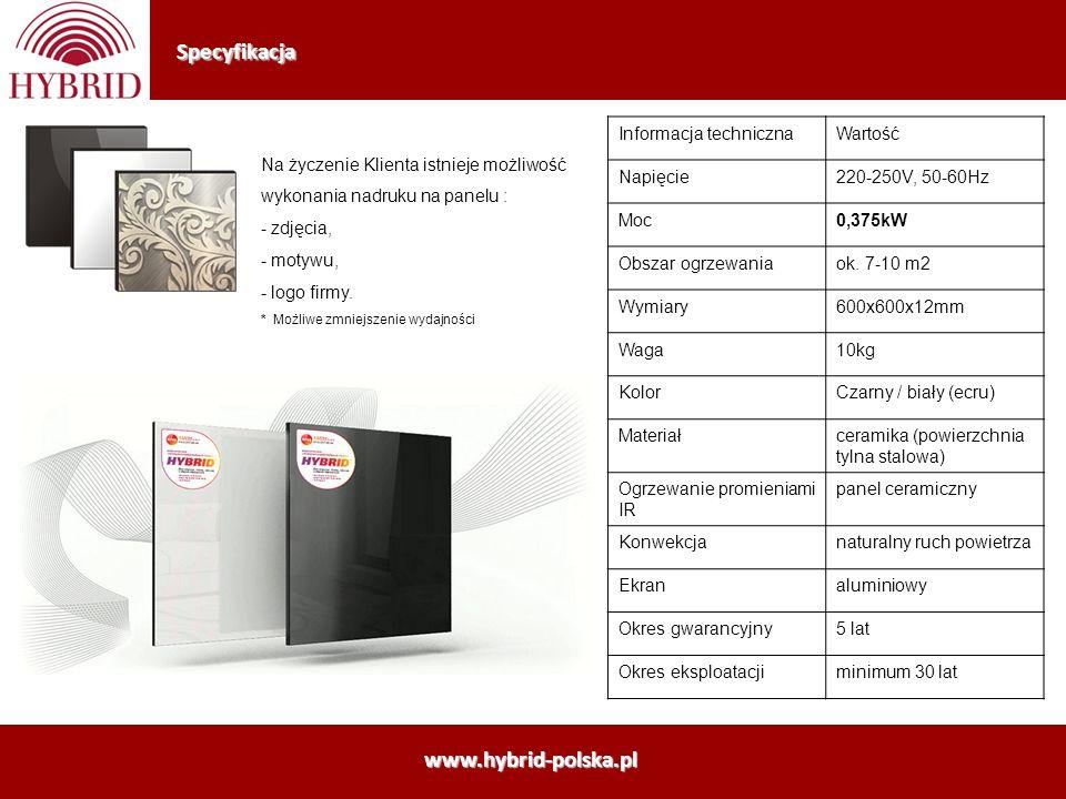Specyfikacja Informacja technicznaWartość Napięcie220-250V, 50-60Hz Moc0,375kW Obszar ogrzewaniaok. 7-10 m2 Wymiary600x600x12mm Waga10kg KolorCzarny /