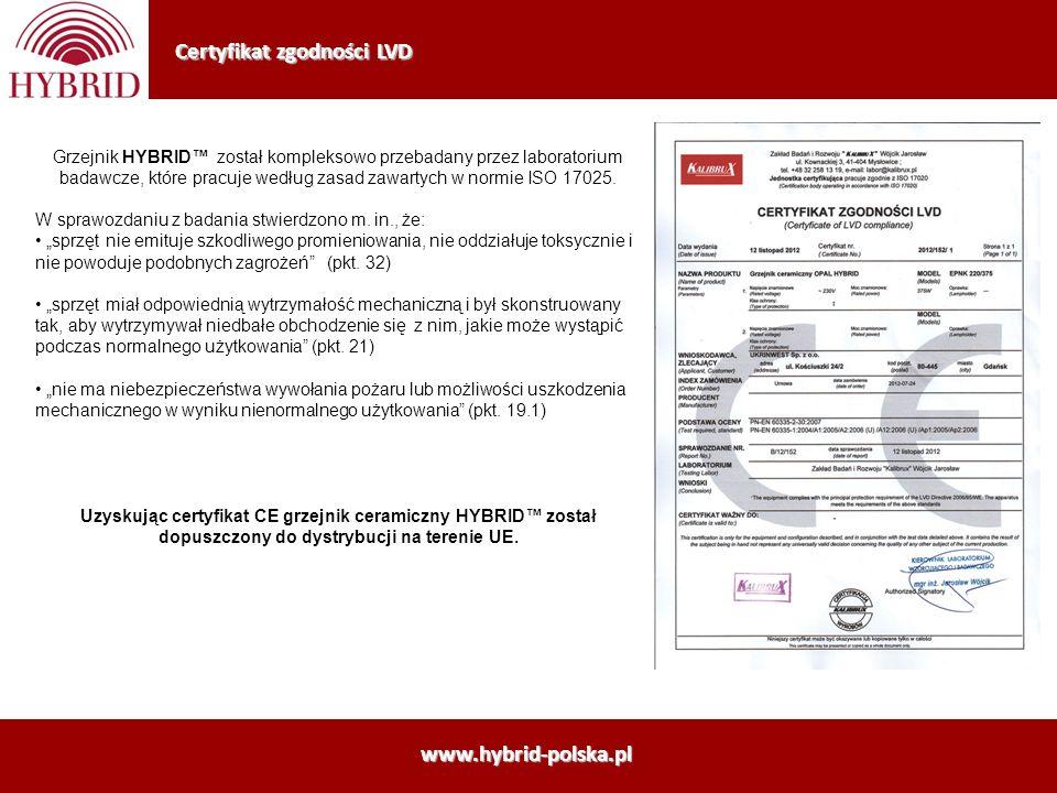 Certyfikat zgodności LVD www.hybrid-polska.pl Grzejnik HYBRID został kompleksowo przebadany przez laboratorium badawcze, które pracuje według zasad za