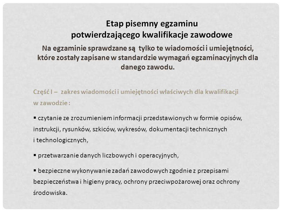 Etap pisemny egzaminu potwierdzającego kwalifikacje zawodowe Na egzaminie sprawdzane są tylko te wiadomości i umiejętności, które zostały zapisane w s