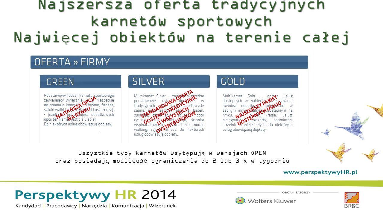 Najszersza oferta tradycyjnych karnetów sportowych Najwięcej obiektów na terenie całej Polski 18 NAJTAŃSZA OPCJA NA RYNKU STANDARDOWA OFERTA DOSTĘPNA