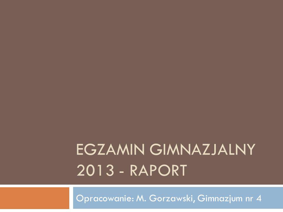 EGZAMIN GIMNAZJALNY 2013 - RAPORT Opracowanie: M. Gorzawski, Gimnazjum nr 4