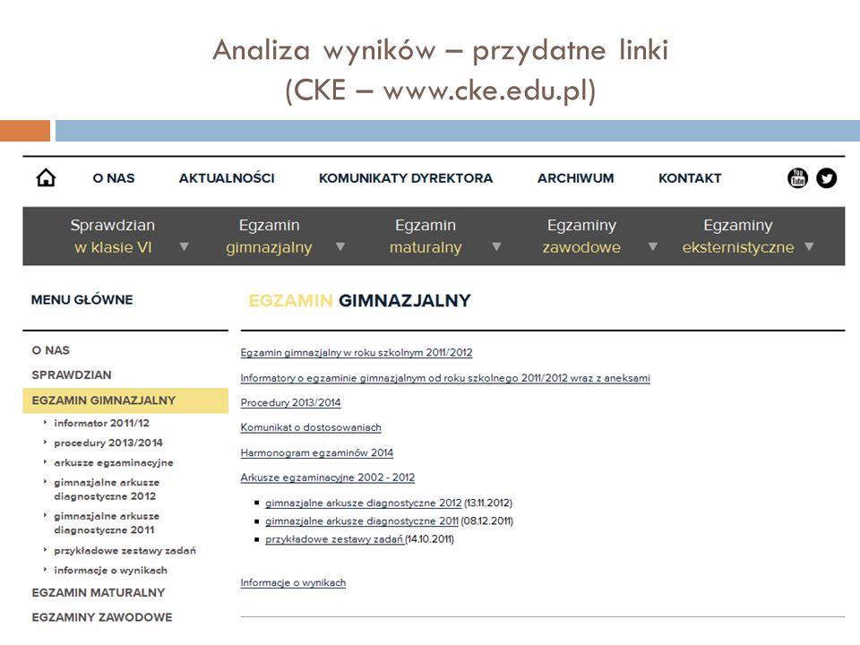 Analiza wyników – przydatne linki (CKE – www.cke.edu.pl)