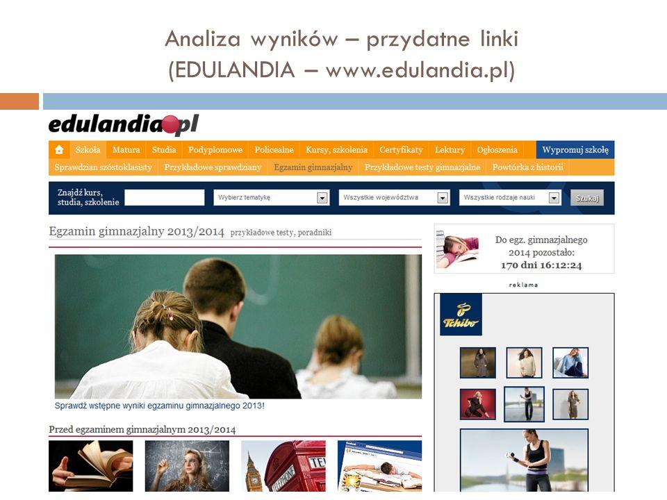 Analiza wyników – przydatne linki (EDULANDIA – www.edulandia.pl)