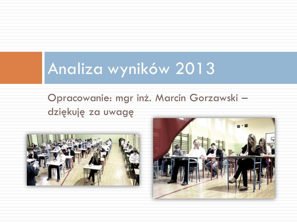 Opracowanie: mgr inż. Marcin Gorzawski – dziękuję za uwagę Analiza wyników 2013