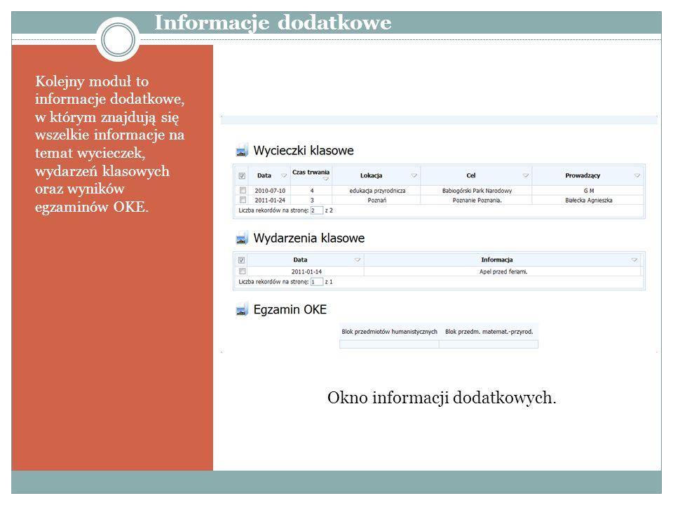 Kolejny moduł to informacje dodatkowe, w którym znajdują się wszelkie informacje na temat wycieczek, wydarzeń klasowych oraz wyników egzaminów OKE. In