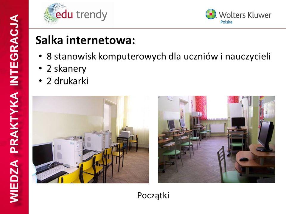 WIEDZA PRAKTYKA INTEGRACJA Salka internetowa: 8 stanowisk komputerowych dla uczniów i nauczycieli 2 skanery 2 drukarki Początki