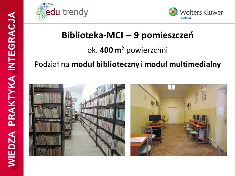 WIEDZA PRAKTYKA INTEGRACJA Biblioteka-MCI 9 pomieszczeń ok. 400 m 2 powierzchni Podział na moduł biblioteczny i moduł multimedialny