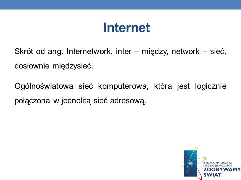 Internet Skrót od ang.Internetwork, inter – między, network – sieć, dosłownie międzysieć.