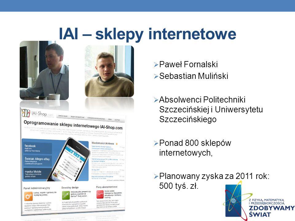 IAI – sklepy internetowe Paweł Fornalski Sebastian Muliński Absolwenci Politechniki Szczecińskiej i Uniwersytetu Szczecińskiego Ponad 800 sklepów internetowych, Planowany zyska za 2011 rok: 500 tyś.