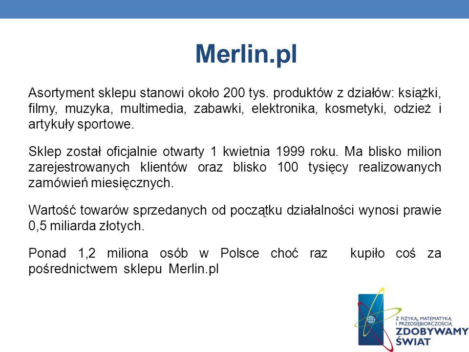 Merlin.pl Asortyment sklepu stanowi około 200 tys.