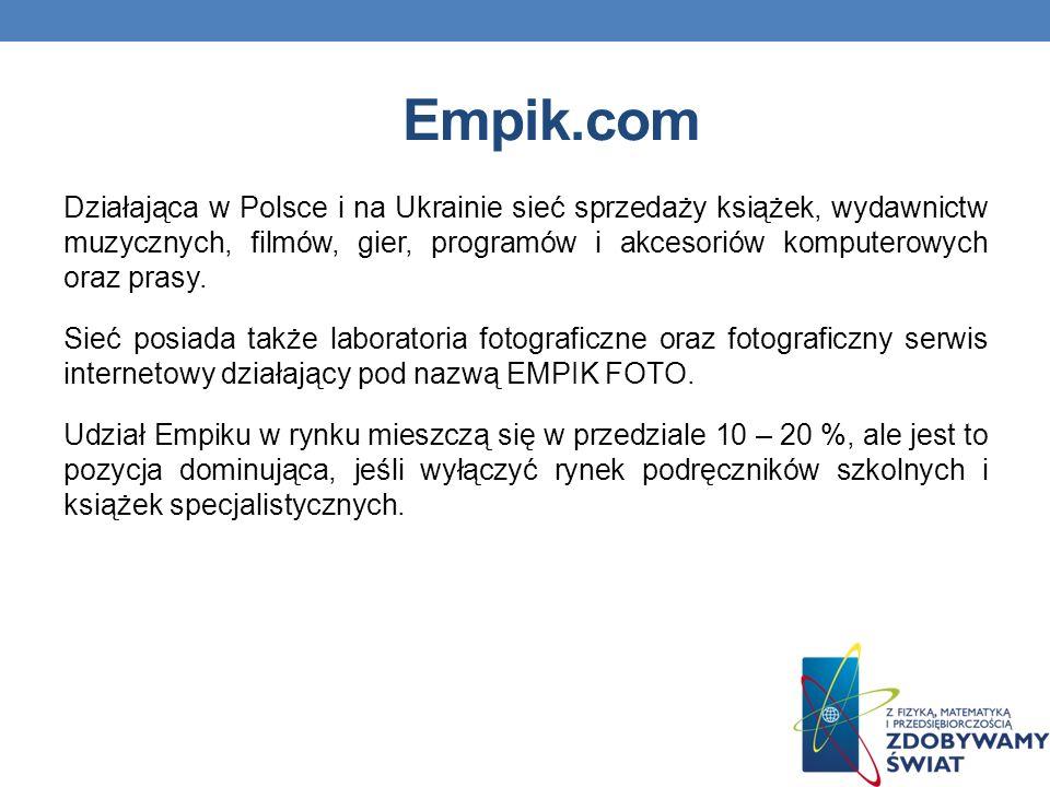 Empik.com Działająca w Polsce i na Ukrainie sieć sprzedaży książek, wydawnictw muzycznych, filmów, gier, programów i akcesoriów komputerowych oraz prasy.