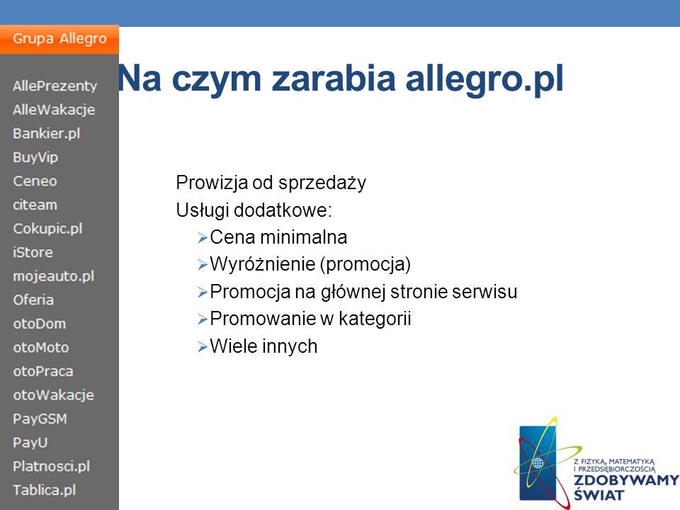Na czym zarabia allegro.pl Prowizja od sprzedaży Usługi dodatkowe: Cena minimalna Wyróżnienie (promocja) Promocja na głównej stronie serwisu Promowanie w kategorii Wiele innych