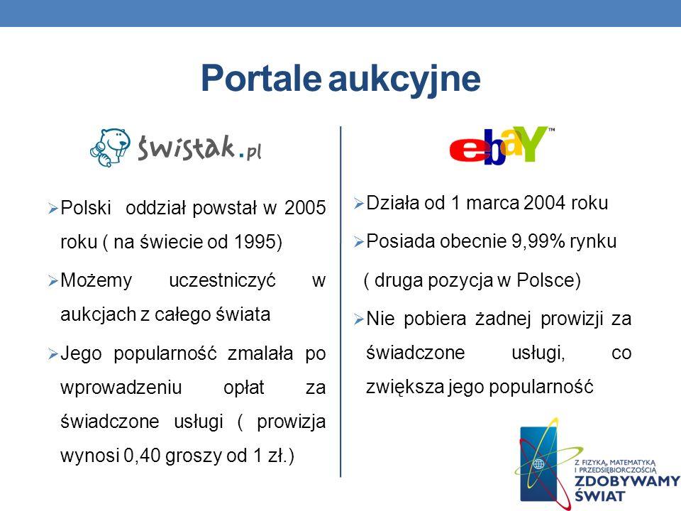 Portale aukcyjne Polski oddział powstał w 2005 roku ( na świecie od 1995) Możemy uczestniczyć w aukcjach z całego świata Jego popularność zmalała po wprowadzeniu opłat za świadczone usługi ( prowizja wynosi 0,40 groszy od 1 zł.) Działa od 1 marca 2004 roku Posiada obecnie 9,99% rynku ( druga pozycja w Polsce) Nie pobiera żadnej prowizji za świadczone usługi, co zwiększa jego popularność