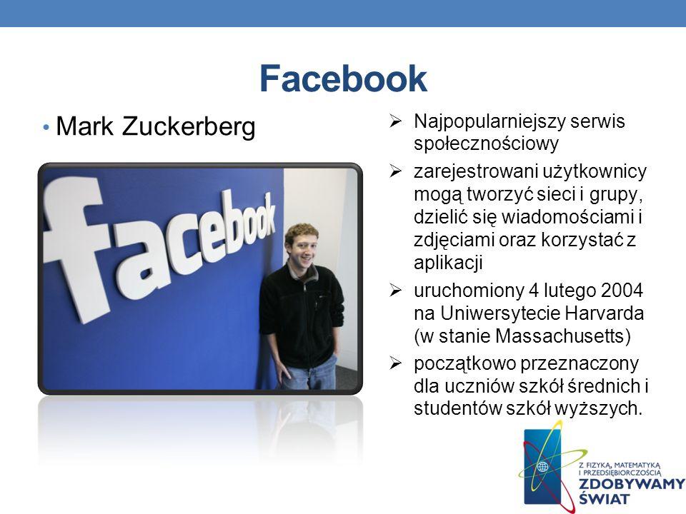 Facebook Mark Zuckerberg Najpopularniejszy serwis społecznościowy zarejestrowani użytkownicy mogą tworzyć sieci i grupy, dzielić się wiadomościami i zdjęciami oraz korzystać z aplikacji uruchomiony 4 lutego 2004 na Uniwersytecie Harvarda (w stanie Massachusetts) początkowo przeznaczony dla uczniów szkół średnich i studentów szkół wyższych.