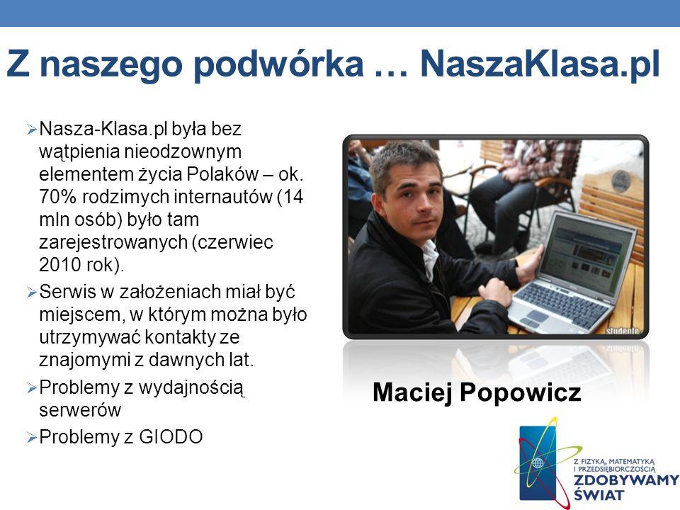 Z naszego podwórka … NaszaKlasa.pl Nasza-Klasa.pl była bez wątpienia nieodzownym elementem życia Polaków – ok.