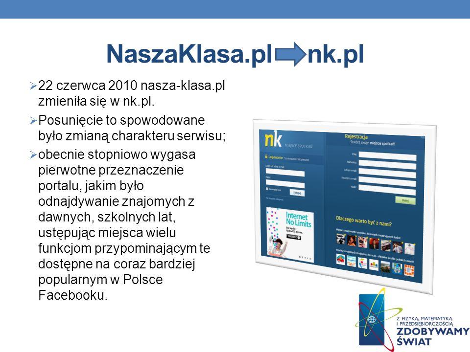 NaszaKlasa.pl nk.pl 22 czerwca 2010 nasza-klasa.pl zmieniła się w nk.pl.
