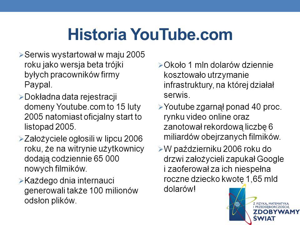 Historia YouTube.com Serwis wystartował w maju 2005 roku jako wersja beta trójki byłych pracowników firmy Paypal.