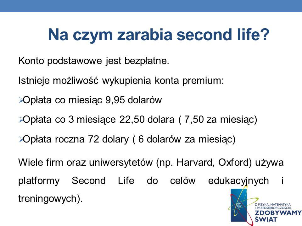 Na czym zarabia second life.Konto podstawowe jest bezpłatne.