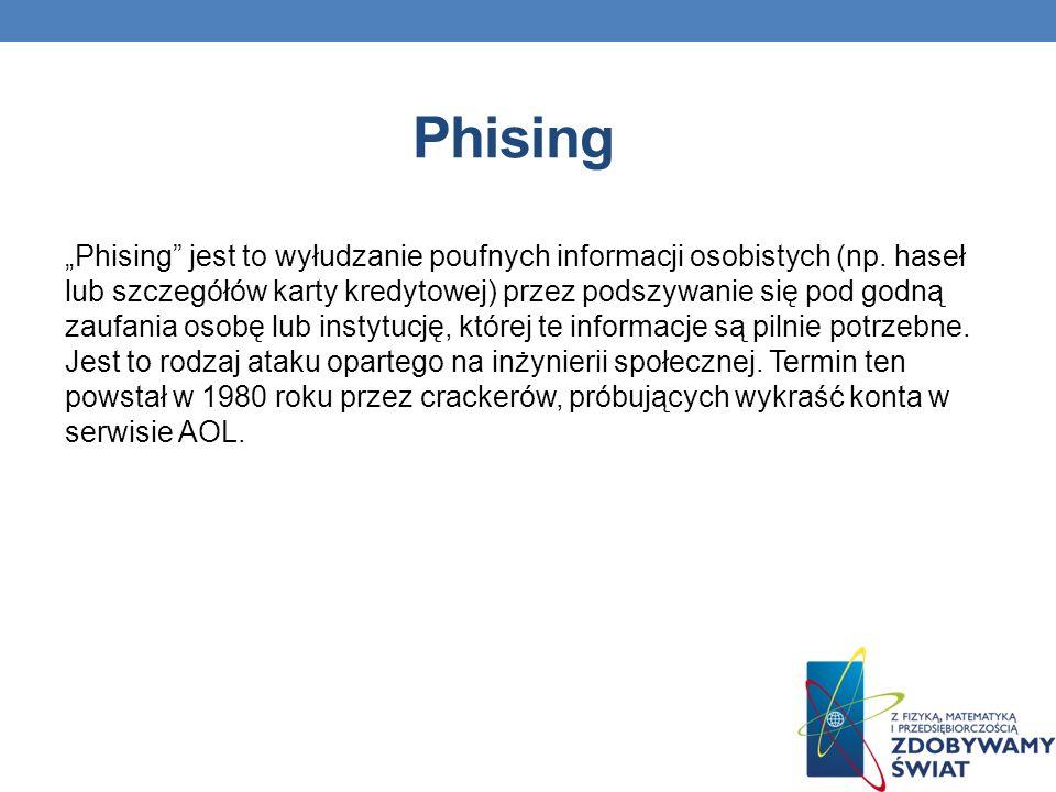 Phising Phising jest to wyłudzanie poufnych informacji osobistych (np.