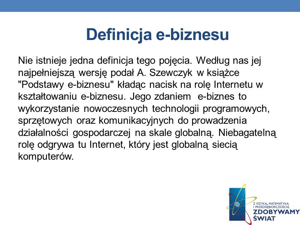 Definicja e-biznesu Nie istnieje jedna definicja tego pojęcia.
