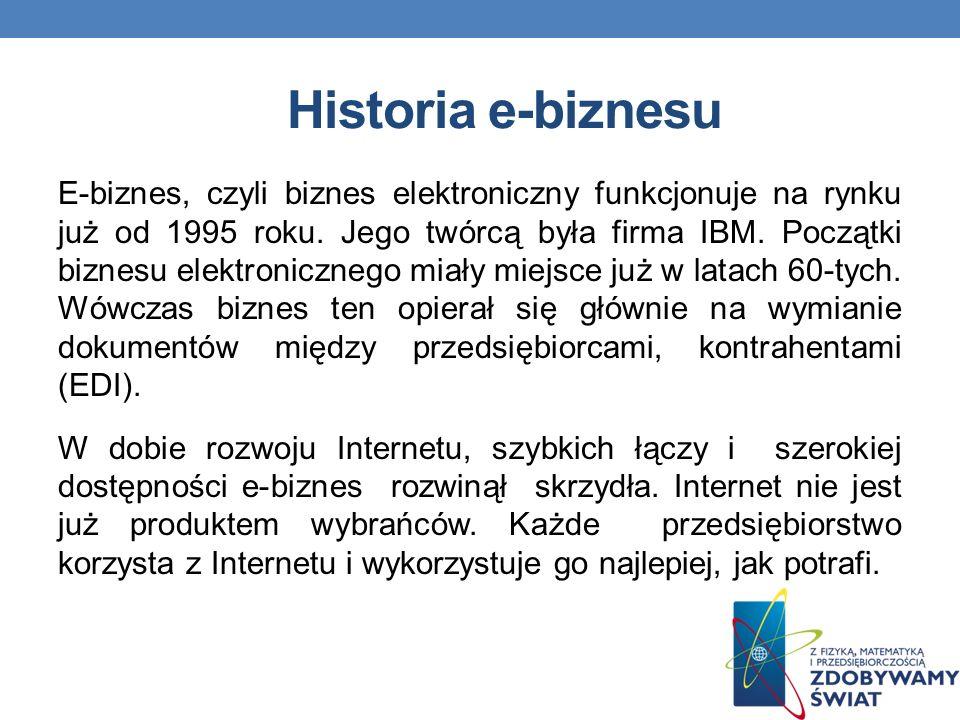 Historia e-biznesu E-biznes, czyli biznes elektroniczny funkcjonuje na rynku już od 1995 roku.