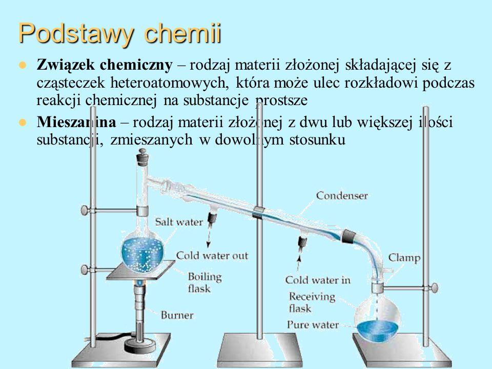 Podstawy chemii Związek chemiczny – rodzaj materii złożonej składającej się z cząsteczek heteroatomowych, która może ulec rozkładowi podczas reakcji c