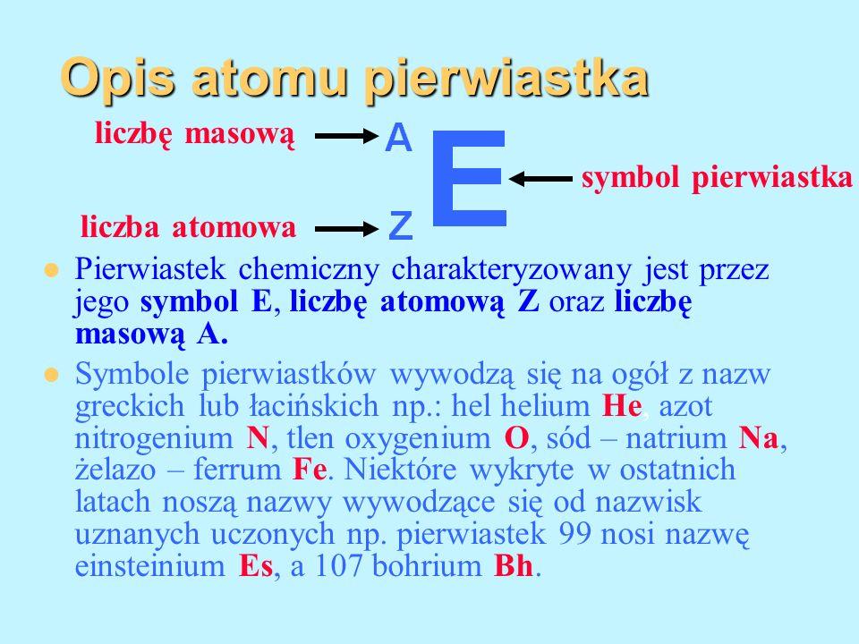 Opis atomu pierwiastka Pierwiastek chemiczny charakteryzowany jest przez jego symbol E, liczbę atomową Z oraz liczbę masową A. Symbole pierwiastków wy