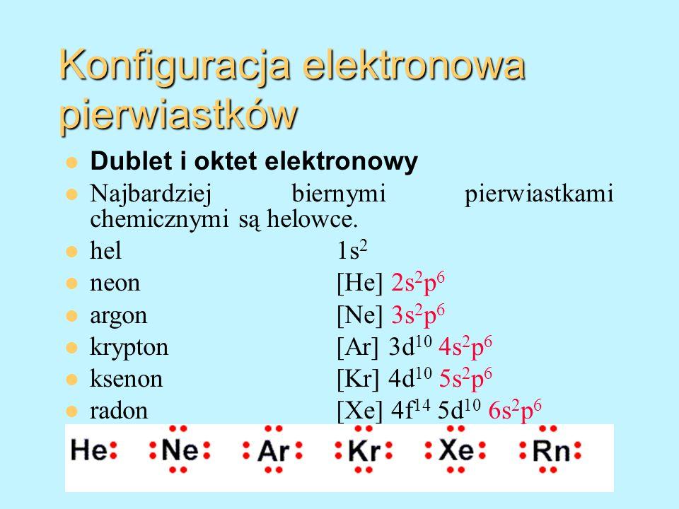Konfiguracja elektronowa pierwiastków Dublet i oktet elektronowy Najbardziej biernymi pierwiastkami chemicznymi są helowce. hel 1s 2 neon[He] 2s 2 p 6