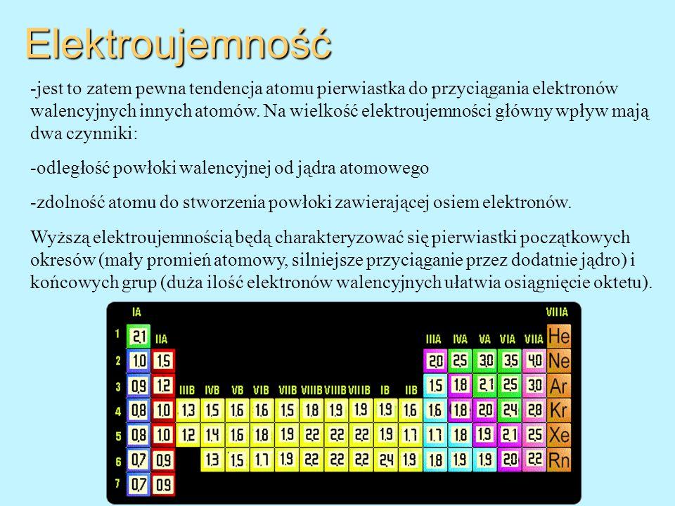Elektroujemność -jest to zatem pewna tendencja atomu pierwiastka do przyciągania elektronów walencyjnych innych atomów. Na wielkość elektroujemności g
