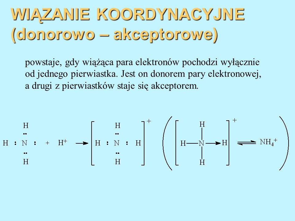 WIĄZANIE KOORDYNACYJNE (donorowo – akceptorowe) powstaje, gdy wiążąca para elektronów pochodzi wyłącznie od jednego pierwiastka. Jest on donorem pary