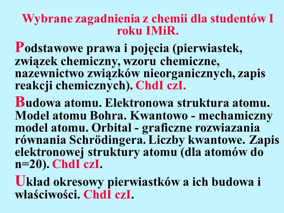 Wybrane zagadnienia z chemii dla studentów I roku IMiR. P odstawowe prawa i pojęcia (pierwiastek, związek chemiczny, wzoru chemiczne, nazewnictwo zwią