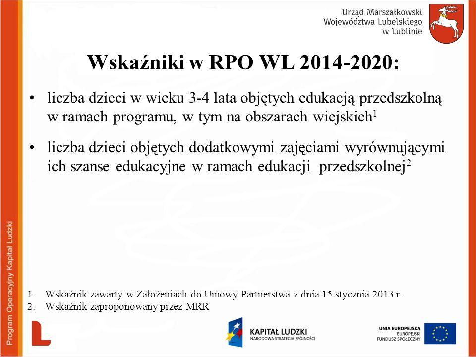Wskaźniki w RPO WL 2014-2020: liczba dzieci w wieku 3-4 lata objętych edukacją przedszkolną w ramach programu, w tym na obszarach wiejskich 1 liczba d