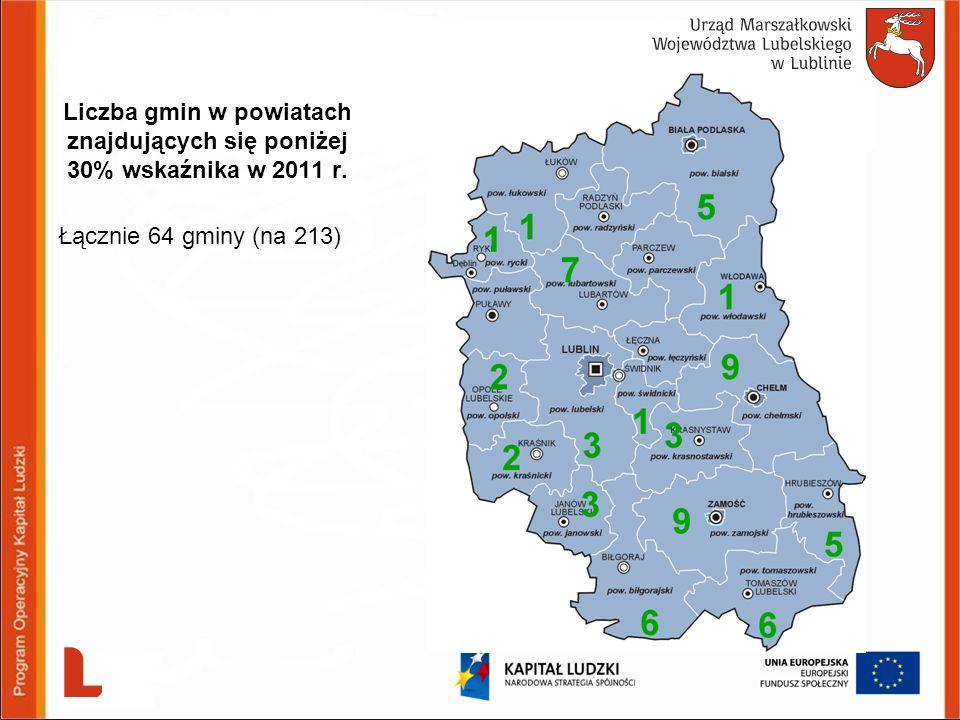 Grupowe ujęcie gmin o najniższym wskaźniku dot.