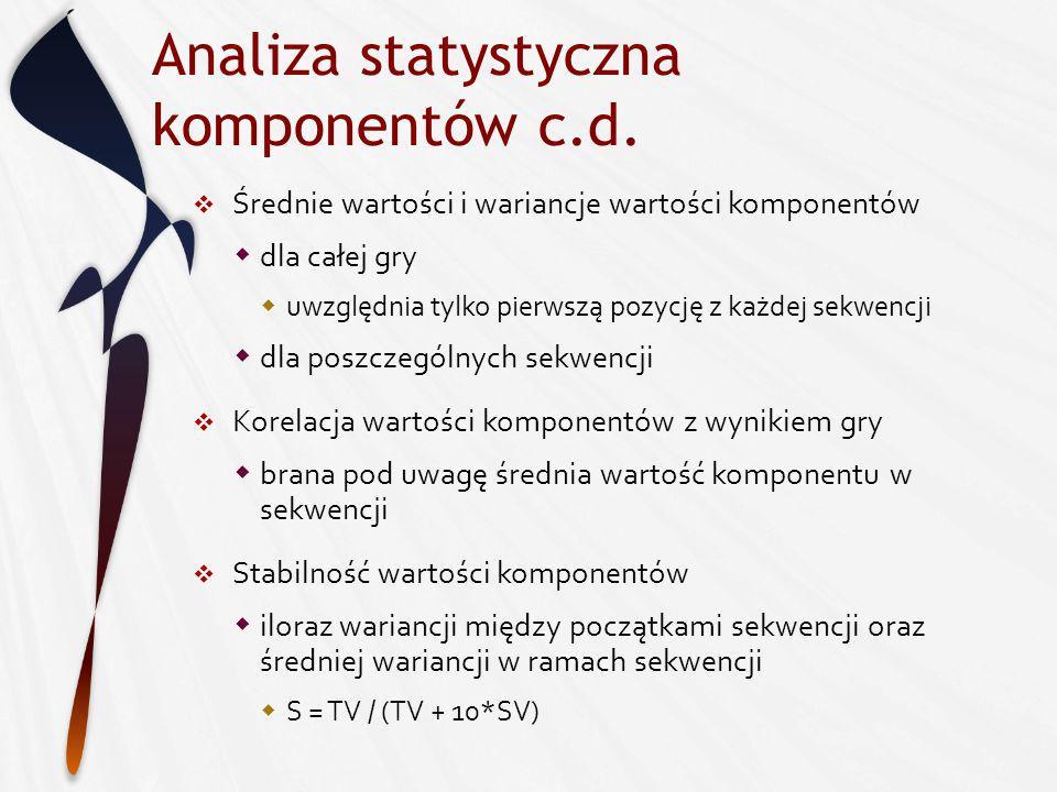 Analiza statystyczna komponentów c.d.