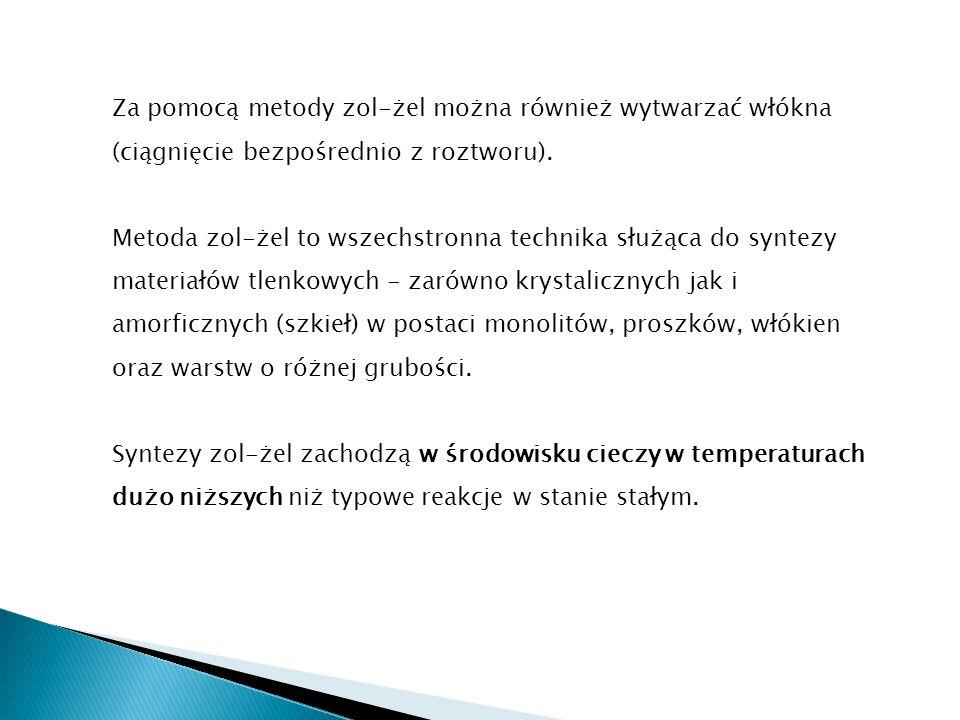 Za pomocą metody zol-żel można również wytwarzać włókna (ciągnięcie bezpośrednio z roztworu). Metoda zol-żel to wszechstronna technika służąca do synt