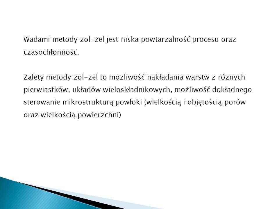 Wadami metody zol-żel jest niska powtarzalność procesu oraz czasochłonność. Zalety metody zol-żel to możliwość nakładania warstw z różnych pierwiastkó
