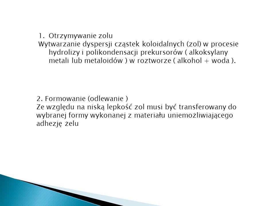 1.Otrzymywanie zolu Wytwarzanie dyspersji cząstek koloidalnych (zol) w procesie hydrolizy i polikondensacji prekursorów ( alkoksylany metali lub metal