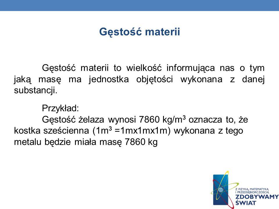 Gęstość materii Gęstość materii to wielkość informująca nas o tym jaką masę ma jednostka objętości wykonana z danej substancji. Przykład: Gęstość żela