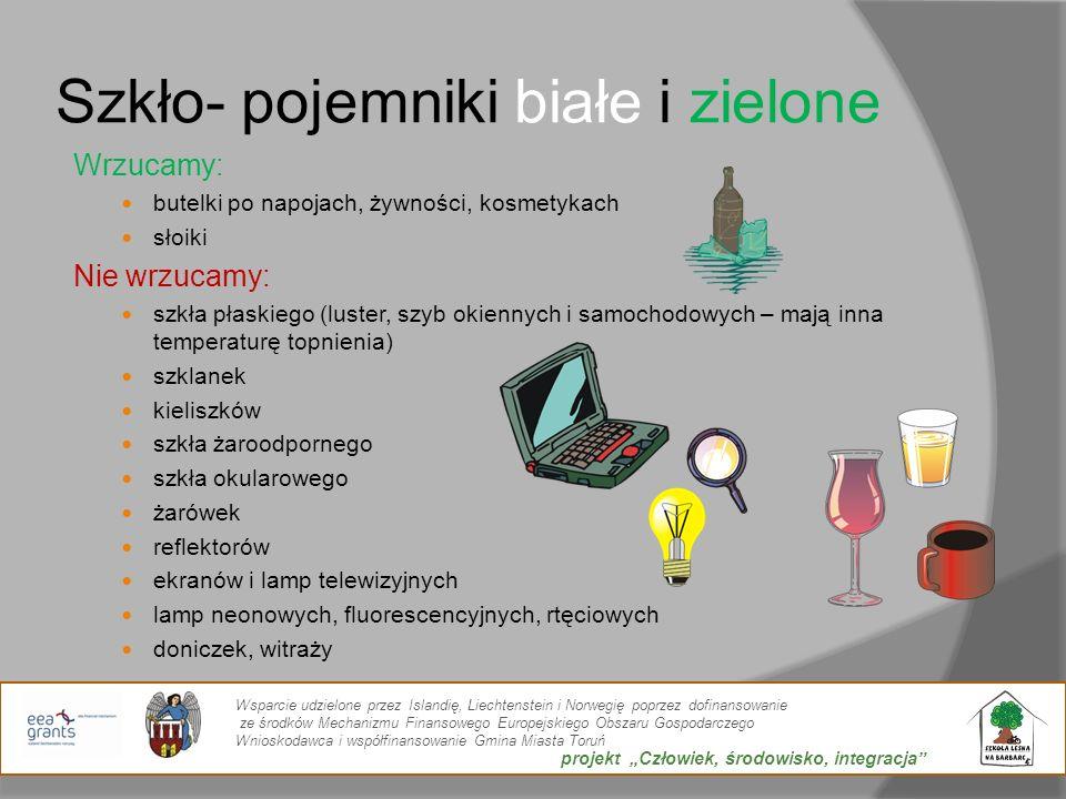 Szkło- pojemniki białe i zielone Wrzucamy: butelki po napojach, żywności, kosmetykach słoiki Nie wrzucamy: szkła płaskiego (luster, szyb okiennych i s