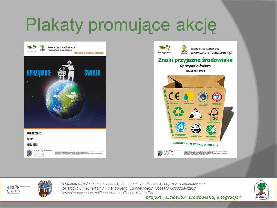 Plakaty promujące akcję Wsparcie udzielone przez Islandię, Liechtenstein i Norwegię poprzez dofinansowanie ze środków Mechanizmu Finansowego Europejsk