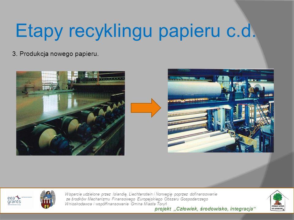 Etapy recyklingu papieru c.d. 3. Produkcja nowego papieru. Wsparcie udzielone przez Islandię, Liechtenstein i Norwegię poprzez dofinansowanie ze środk